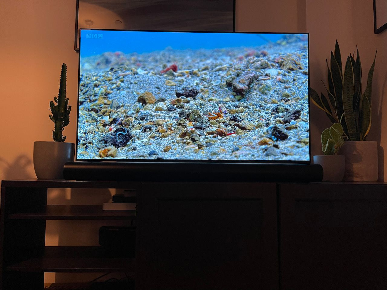 Photo of TV setup with LG CX and Sonos Arc soundbar, demonstrating a minimal between the bottom of the TV and top of the soundbar when viewing from an laying down position.